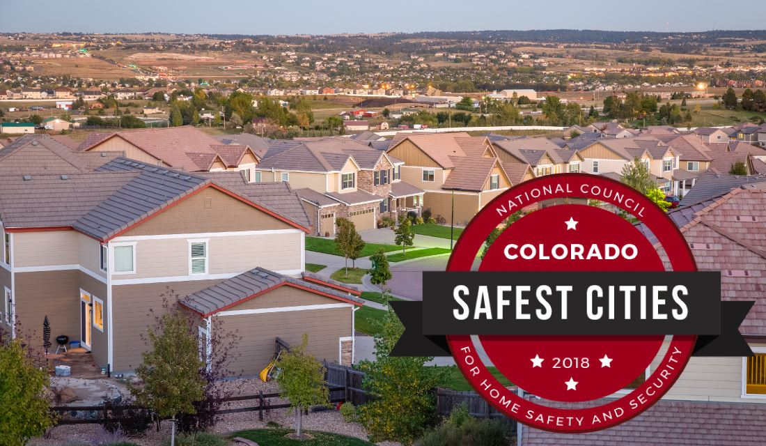 A view of a Parker neighborhood with the Colorado Safest Cities Logo on it.