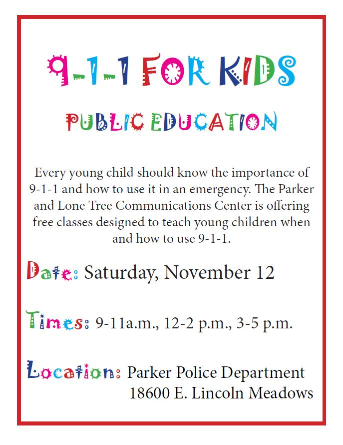911 for kids flyer